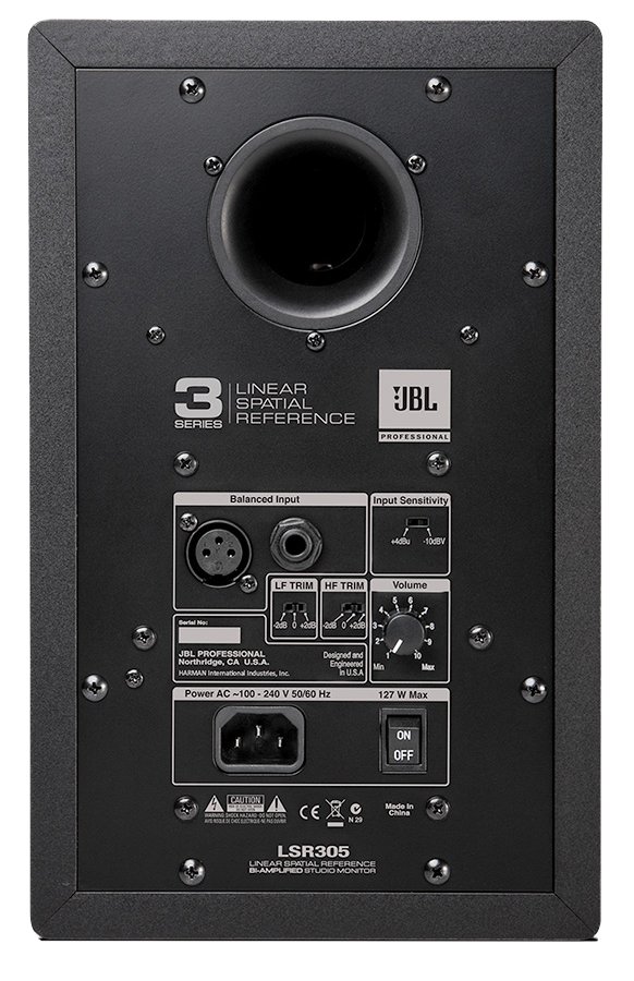 Image of the back of the JBL LSR305.