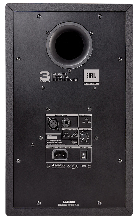 Image of the back of the JBL LSR308.