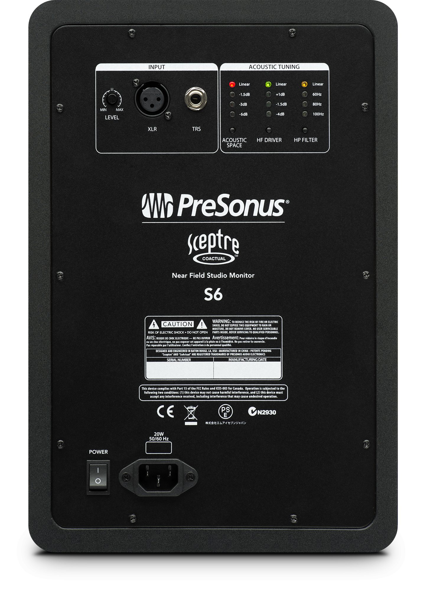 Photo of the back panel of the Presonus Sceptre S6.