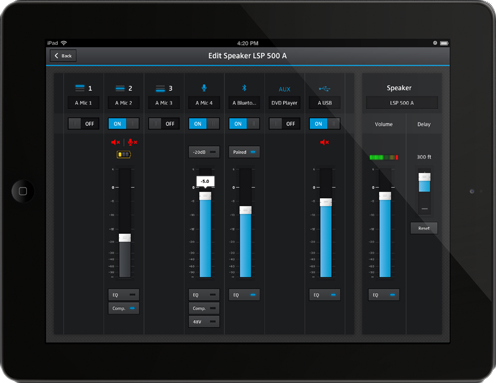 Image of the LSP 500 Pro Remote App for iPad.