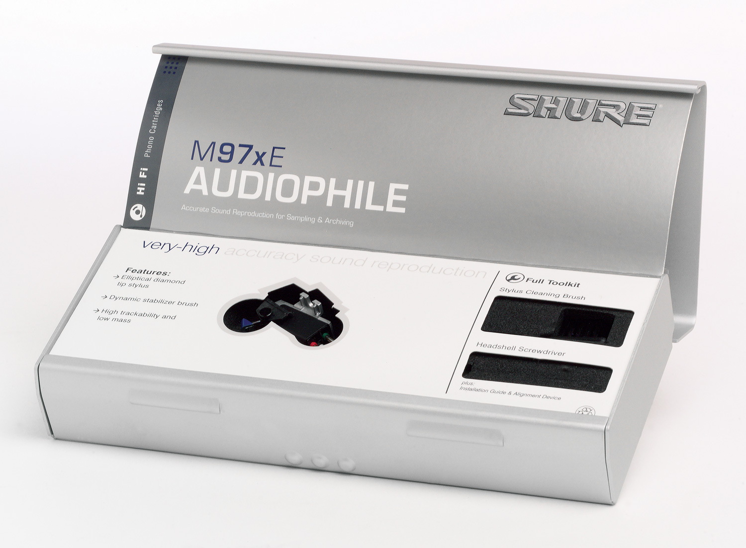 Photo of the inside of the Shure M97xE's box.