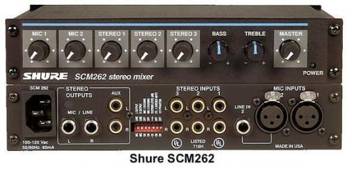 <h5>Shure SCM262 Stereo Microphone Mixer</h5>