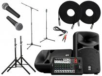 Portable Yamaha Sound System w/ Wired Microphones and Stands