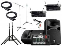 Portable Yamaha Sound System w/ Shure Wireless Microphones and Stands