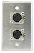 Horizon WP1013 Wallplate w/ 2 Neutrik Latching Female XLR Connectors