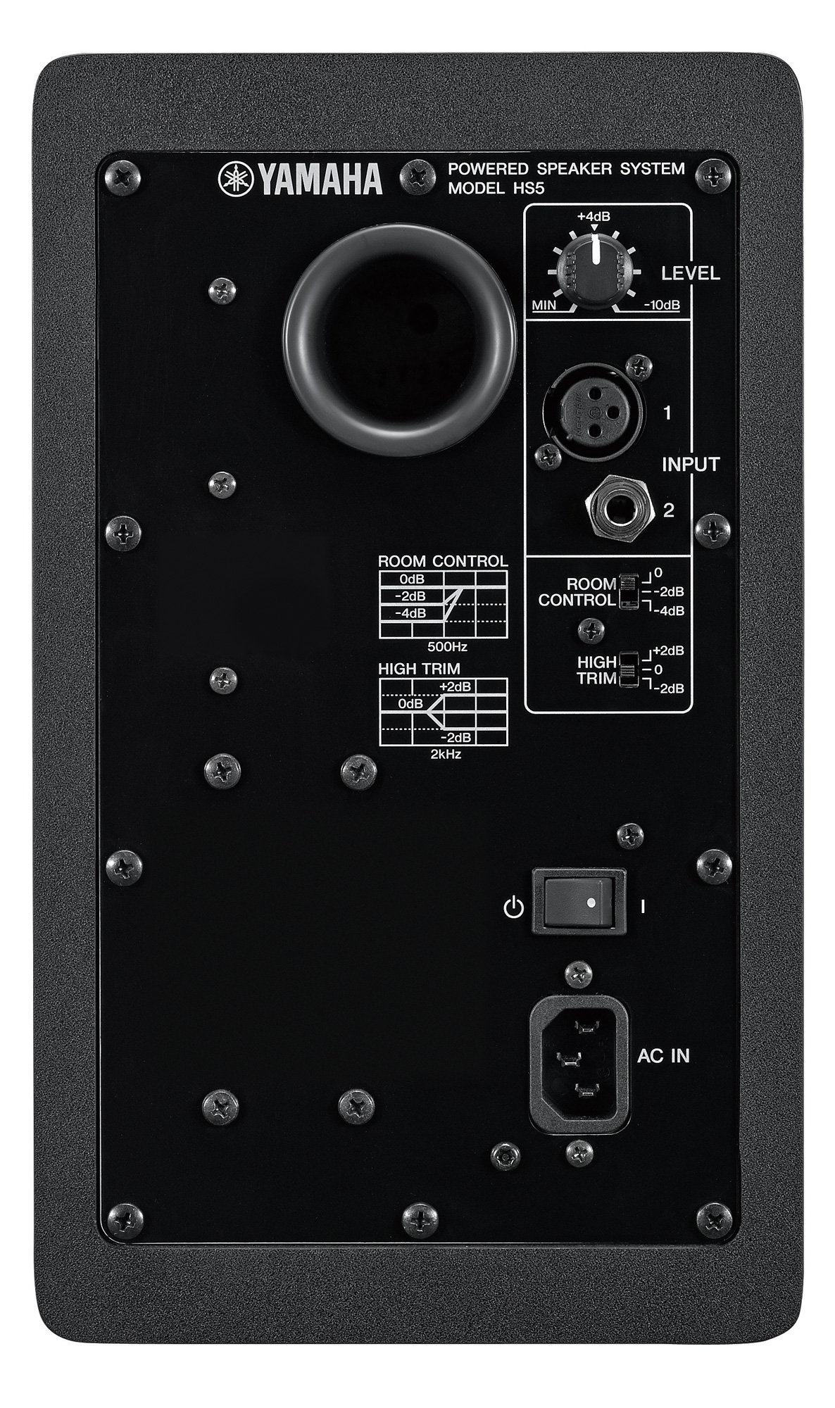 Image of the rear of the Yamaha HS5 studio monitor.
