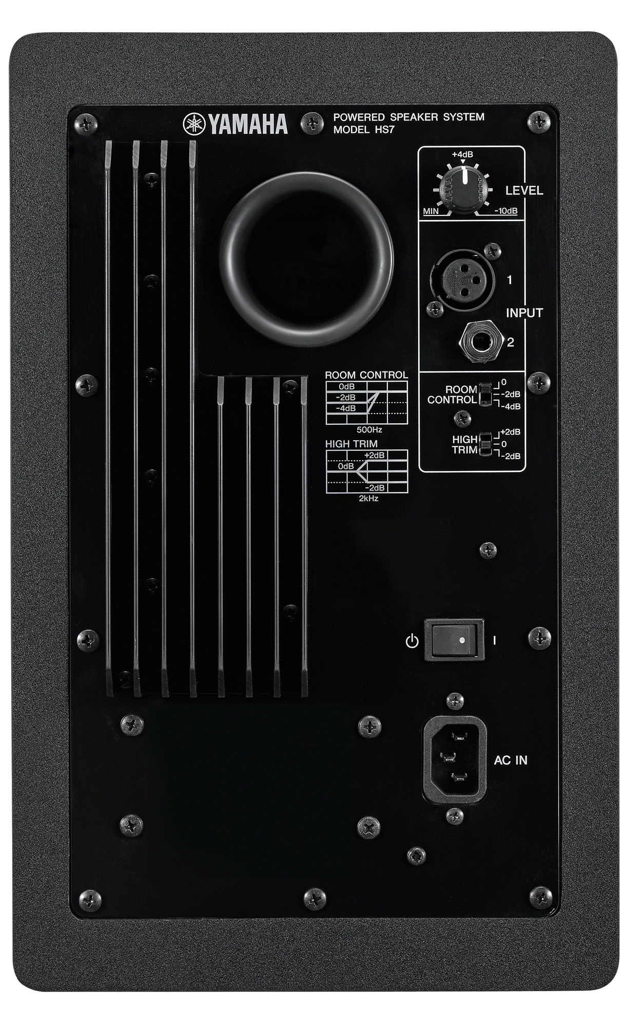 Image of the rear of the Yamaha HS7 studio monitor.