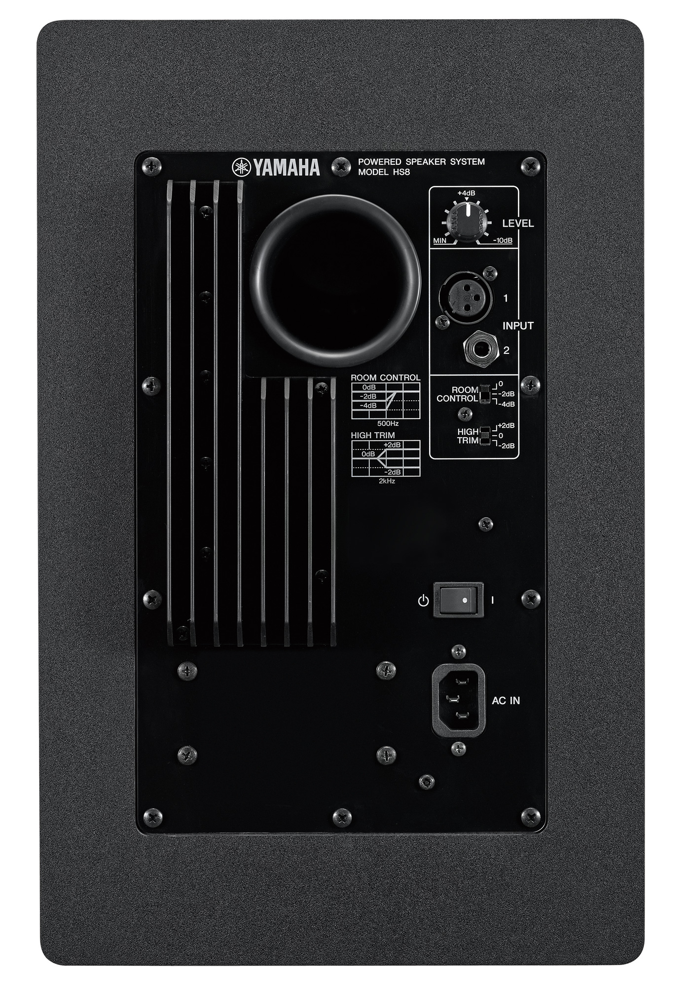 Image of the rear of the Yamaha HS8 studio monitor.