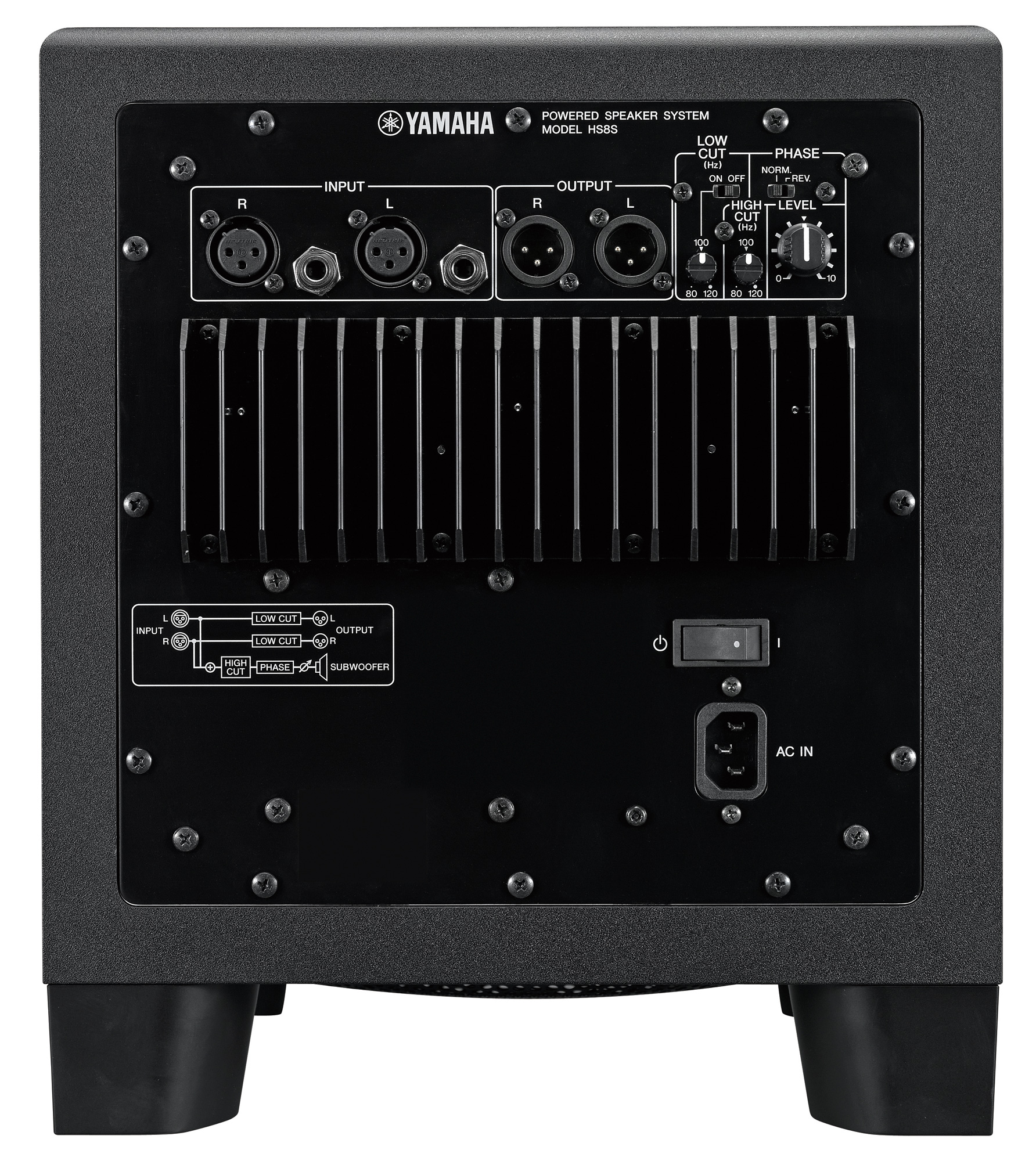 Image of the rear of the Yamaha HS8s powered subwoofer.