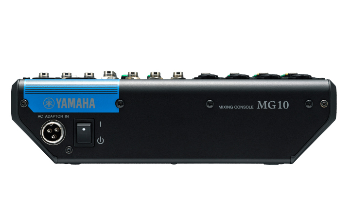 Image of the Yamaha MG10 mixer shown from the rear.