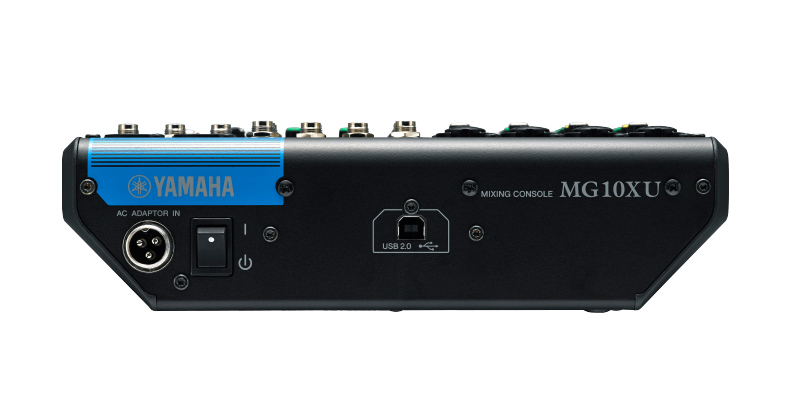 Image of the Yamaha MG10XU mixer shown from the rear.